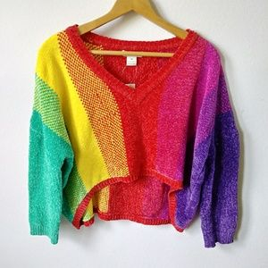 NWT Luv lane rainbow cropped knit sweater